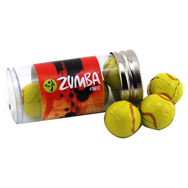 Promotional Small Plastic Tube with Chocolate Tennis Balls