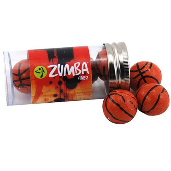 Promotional Small Plastic Tube with Chocolate Basketballs