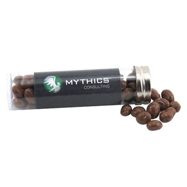 Promotional Medium Plastic Tube with Chocolate Covered Raisins