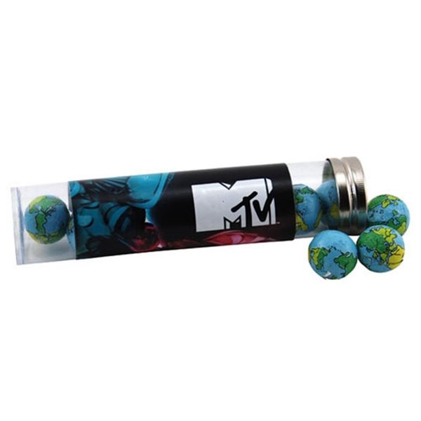 Promotional Large Plastic Tube with Chocolate Globes Earth Balls