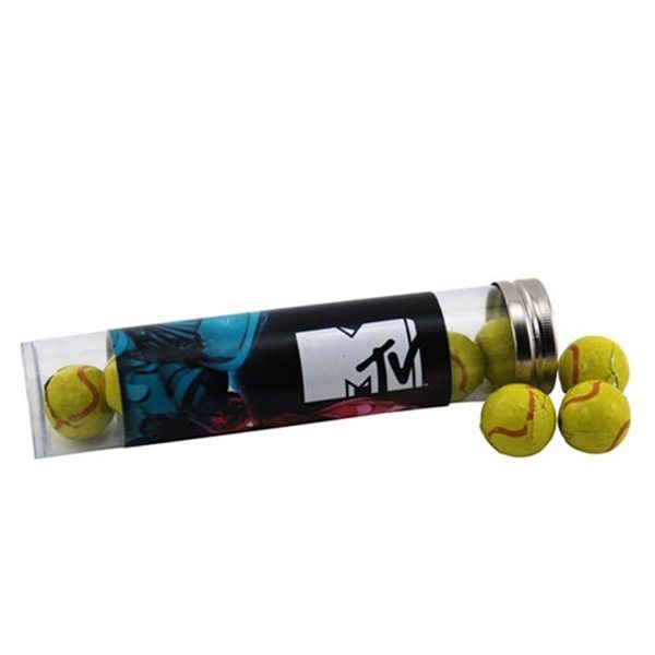 Promotional Large Plastic Tube with Chocolate Tennis Balls