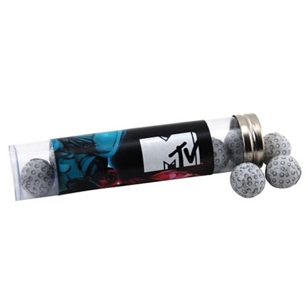 Promotional Large Plastic Tube with Chocolate Golf Balls