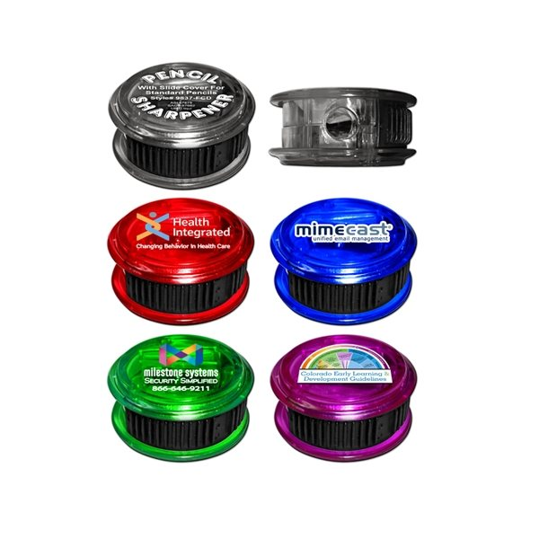 Promotional Round Pencil Sharpener with Full Color Decal