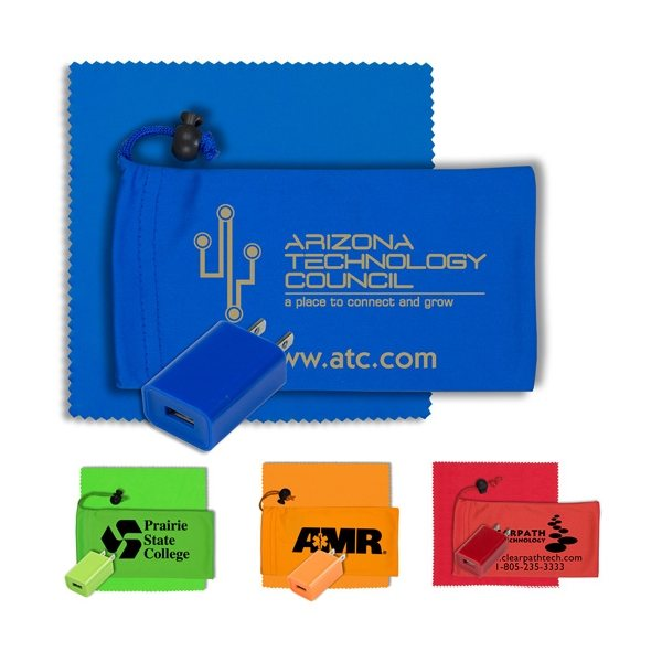 Promotional Mobile Tech Wall Charger Kit in Microfiber Cinch Pouch