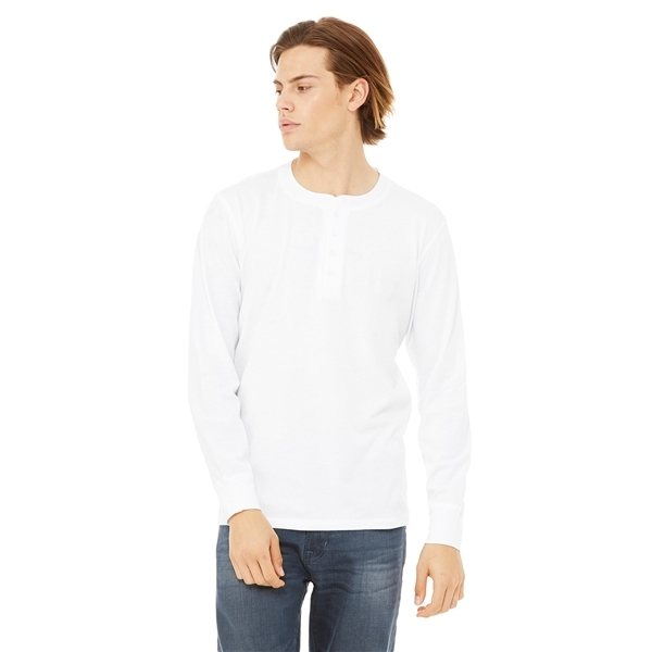 Promotional BELLA + CANVAS Jersey Long - Sleeve Henley - 3150 - WHITE