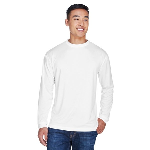 Promotional UltraClub(R) Cool Dry Sport Long - Sleeve T - Shirt - WHITE