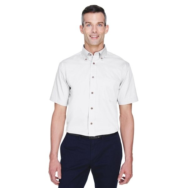 Promotional Harriton(R) Easy Blend(TM) Short - Sleeve Twill Shirt withStain - Release - WHITE