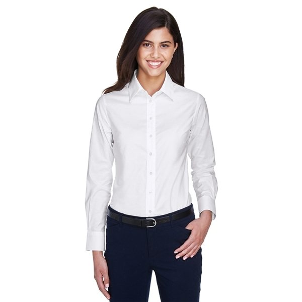 Promotional Harriton(R) Long - Sleeve Oxford with Stain - Release - WHITE