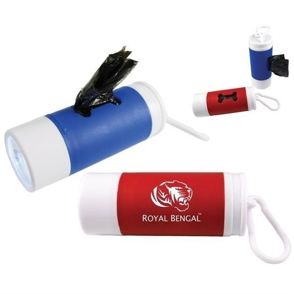 Promotional Dog Bag Combo Clip With Flashlight 25 Bags
