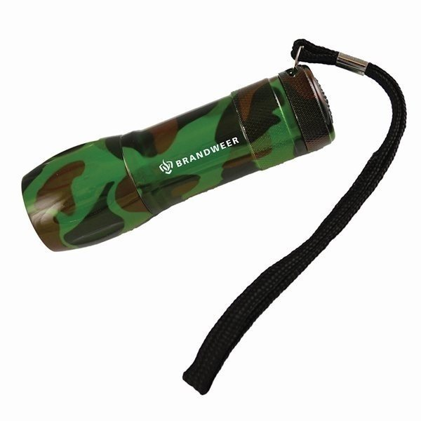 Promotional Wide Body Camo 9 Light Led Torch Flashlight