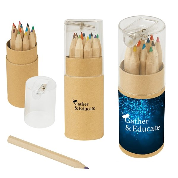 Promotional 12- Piece Colored Pencils Tube With Sharpener