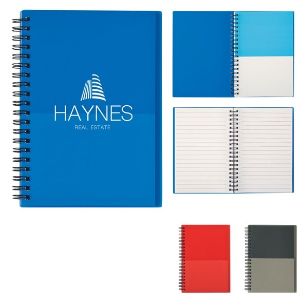 Promotional 5 x 7 Two - Tone Spiral Notebook