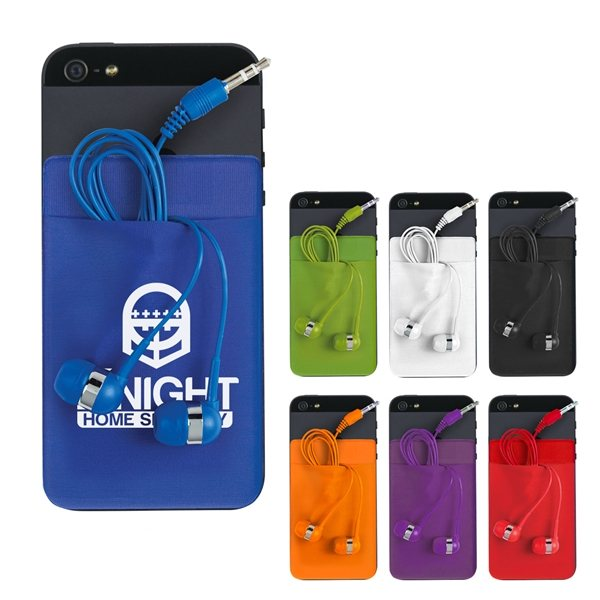 Promotional Stretch Phone Card Sleeve With Ear Buds
