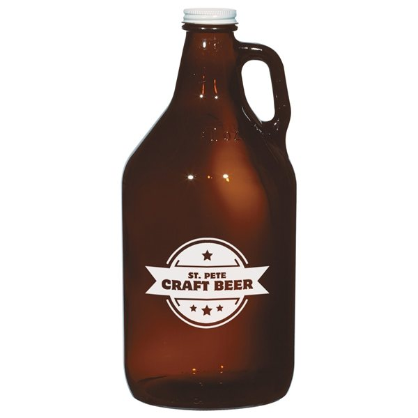 Promotional 64 oz Amber Malt Growler