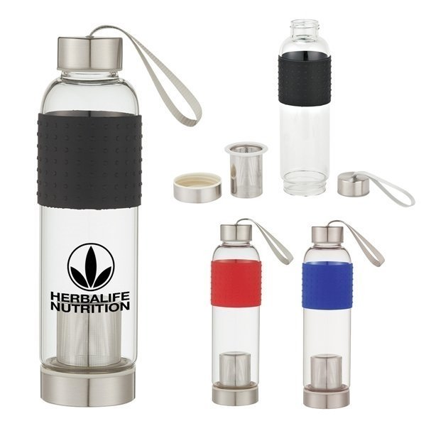 Promotional 18 oz Infuser Glass Bottle
