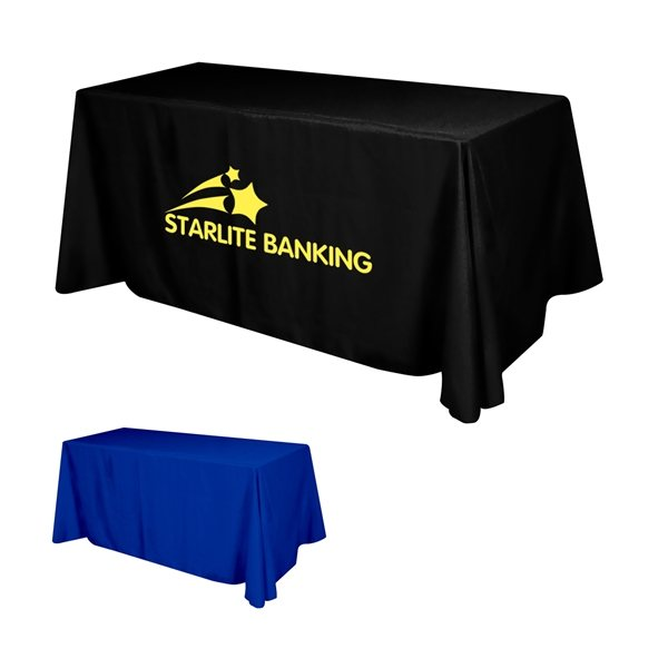 Promotional Flat Polyester 3- Sided Table Cover - fits 6 standard table