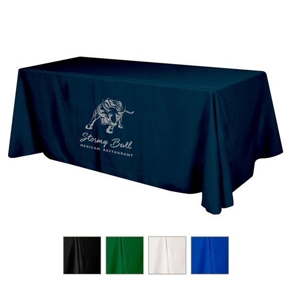 Promotional Flat Polyester 3- sided Table Cover - fits 8 standard table