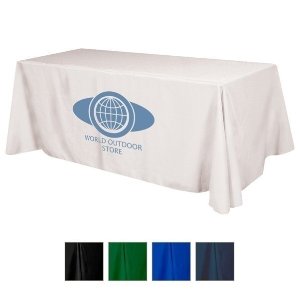 Promotional Flat Polyester 4- Sided Table Cover - fits 8 standard table