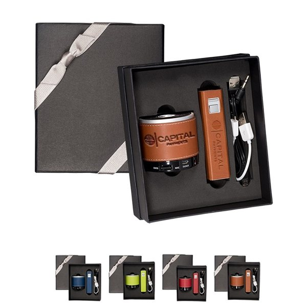 Promotional Tuscany(TM) Power Bank And Wireless Speaker Gift Set