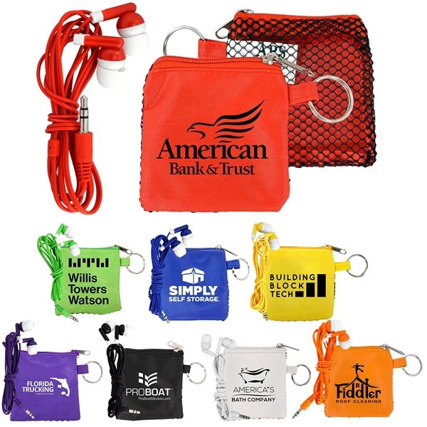 Promotional Sporty Tech Pouch with Ear Buds