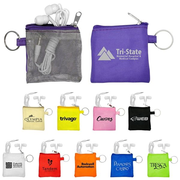 Promotional Mesh Travel Pouch with Earbuds