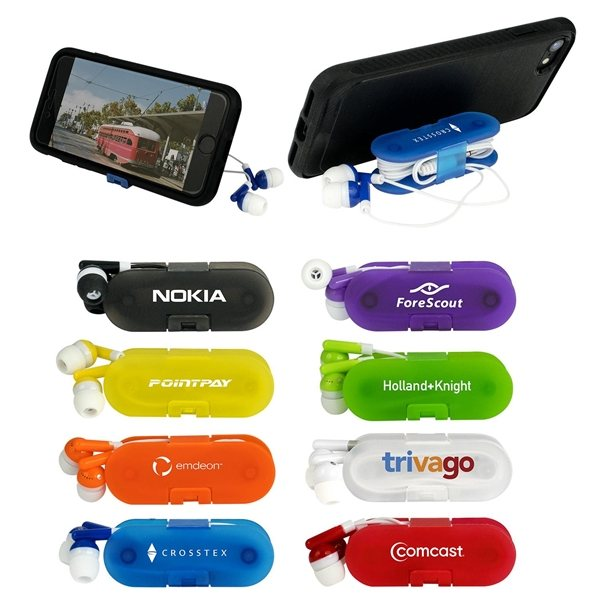 Promotional Ear Buds and Phone Stand