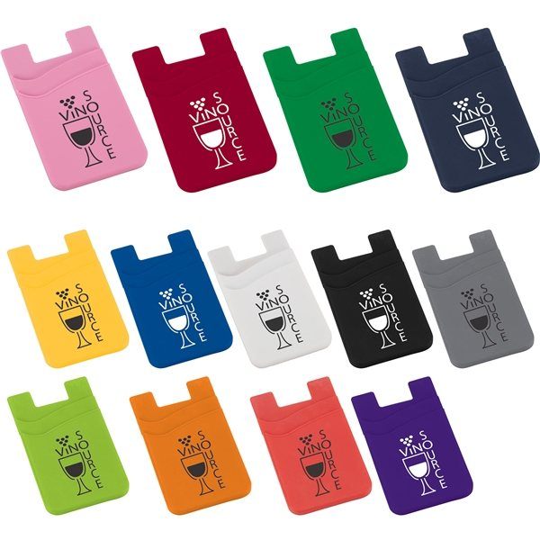 Promotional Dual Pocket Slim Silicone Phone Wallet