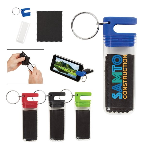 Promotional Cleaning Cloth / Phone Stand Key Tag