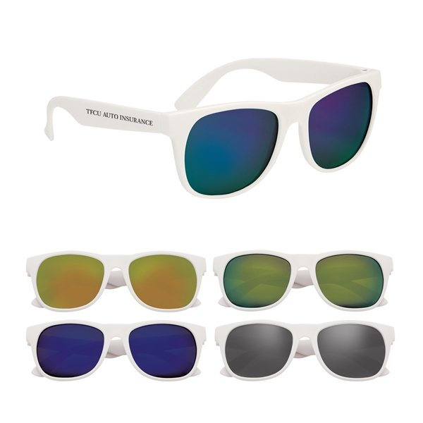 Promotional Rubberized Mirrored Malibu Sunglasses