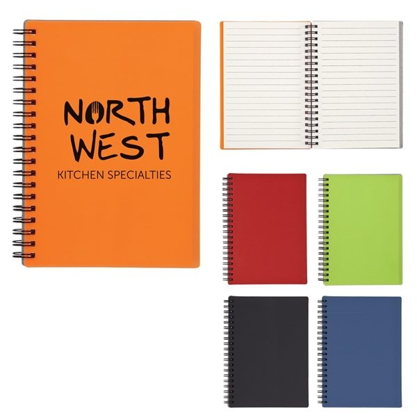 Promotional 5 X 7 Rubbery Spiral Notebook
