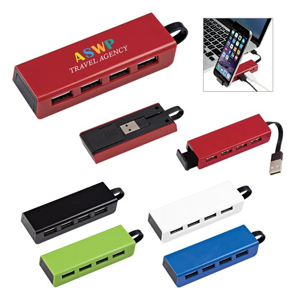 Promotional 4- Port Traveler USB Hub With Phone Stand