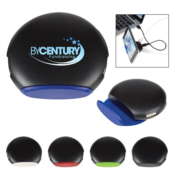 Promotional 4- Port Round USB Hub With Phone Stand