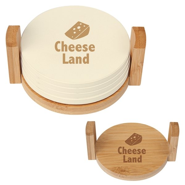 Promotional 4- Coaster Set With Bamboo Holder