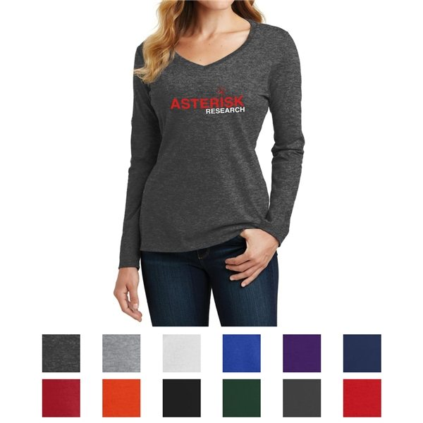 Promotional Port Company(R) Ladies Long Sleeve Fan Favorite V - Neck Tee
