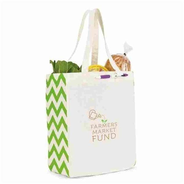 Promotional Chelsea Cotton Market Tote - Ivory / Apple Green