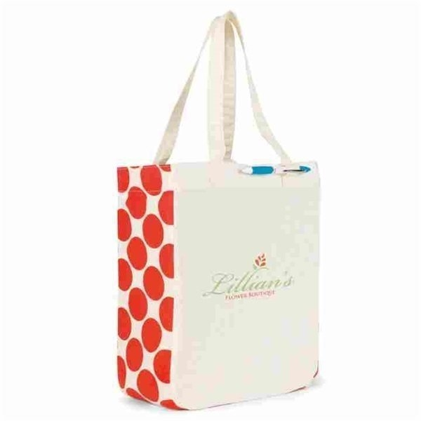 Promotional Chelsea Cotton Market Tote - Ivory / Red
