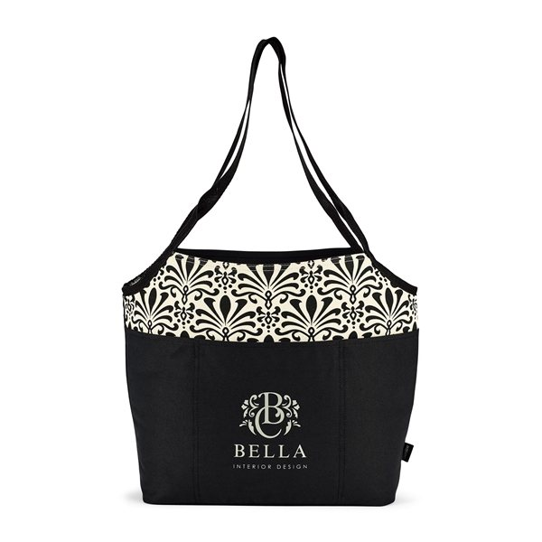 Promotional Tori Cotton Fashion Tote - Black Damask Pattern