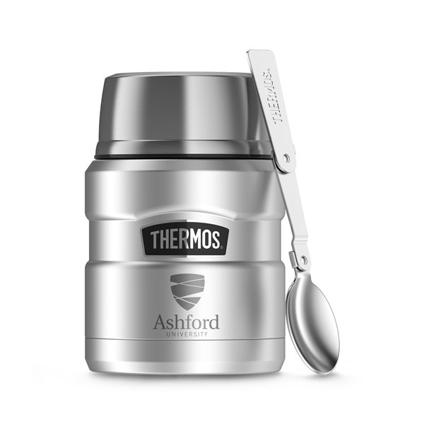 Promotional Thermos(R) Stainless King(TM) Food Jar with Spoon - 16 oz - Stainless Steel