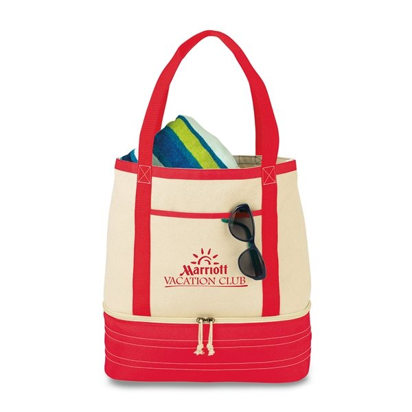 Promotional Coastal Cotton Insulated Tote - Red / Natural