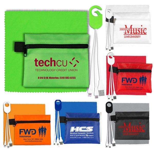 Promotional Mobile Tech Charging Cables in Zipper Pouch