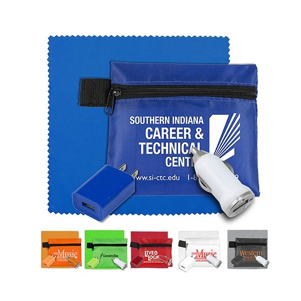 Promotional Mobile Tech Auto and Home Charging Kit with Microfiber Cleaning Cloth in Polyester Zipper Pouch