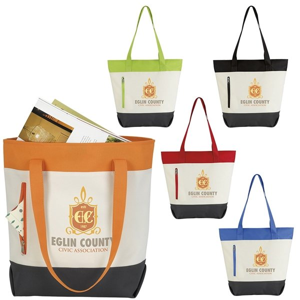 Promotional Good Value Polyester Color Zip Tote