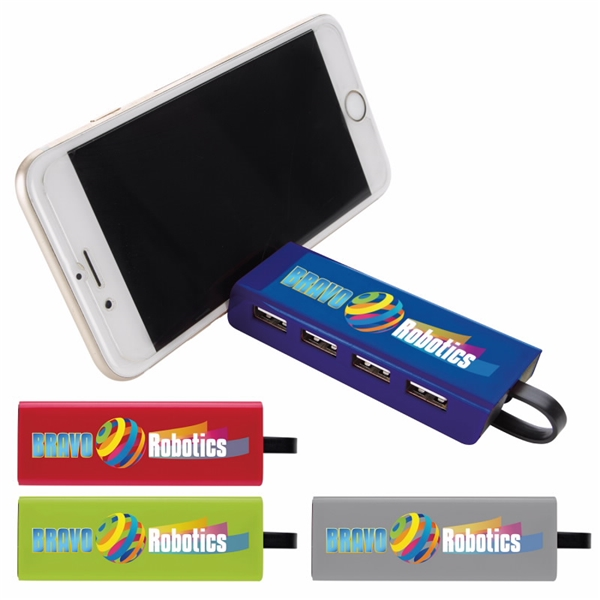 Promotional 4- Port USB Hub and Phone Stand
