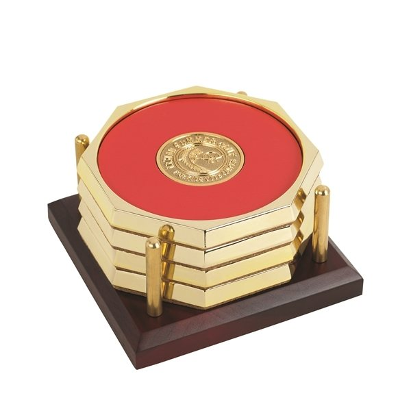 Promotional Four Octagon Coasters with Solid Cherry Tray