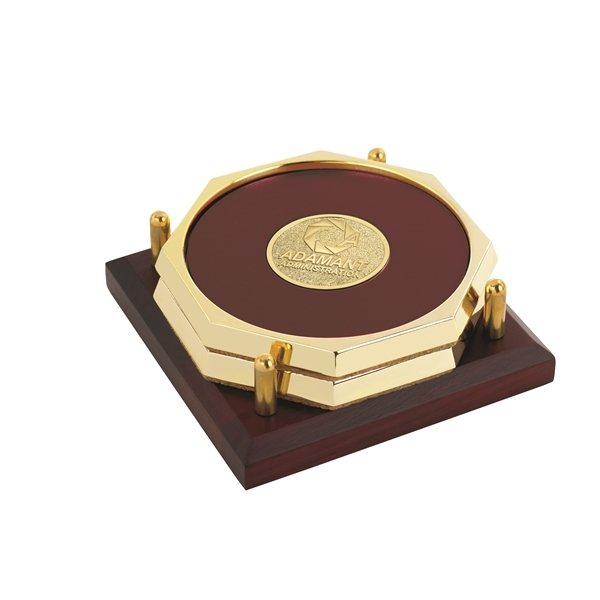 Promotional Two Octagon Coasters with Solid Cherry Tray