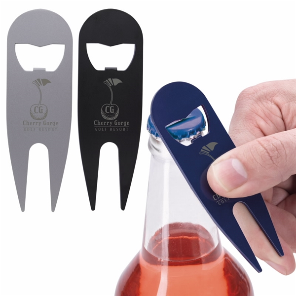 Promotional Modern Divot Tool with Bottle Opener