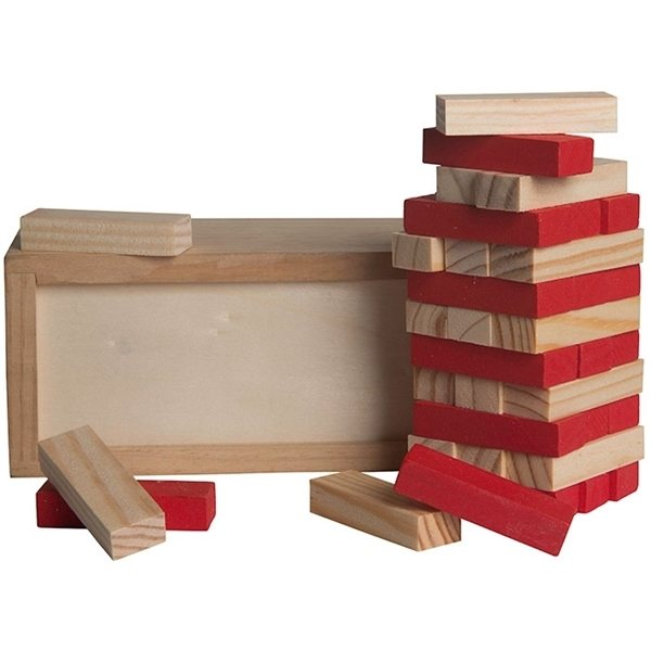 Promotional Red Colored Block Wooden Tower Puzzle