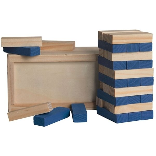 Promotional Blue Colored Block Wooden Tower Puzzle