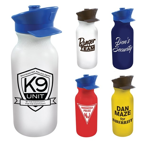 Promotional 20 oz Value Cycle Bottle with Police Hat Push n Pull Cap