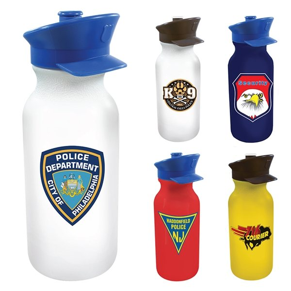 Promotional 20 oz Value Cycle Bottle with Police Hat Push n Pull Cap, Full Color Digital